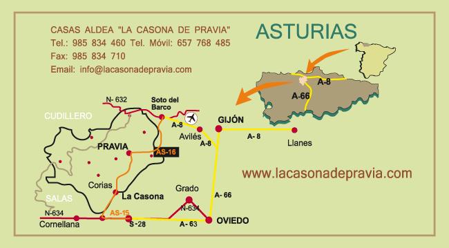 Imagen que muestra un plano de cómo llegar a la Casona de Pravia
