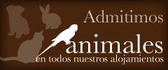 Banner que anuncia que la Casona de Pravia admite animales en sus casas